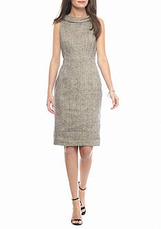 Anne Klein Roll-neck Linen Sheath Dress