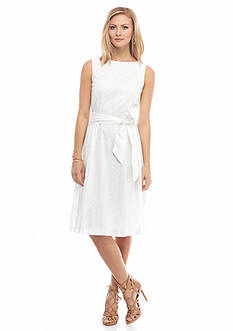 AK Anne Klein Sleeveless Fit and Flare Belted Dress