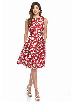 Anne Klein Floral Printed Fit and Flare Dress