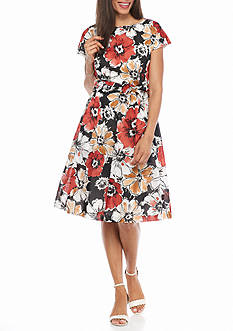 AK Anne Klein Floral Printed Fit and Flare Dress