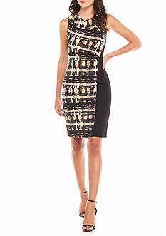 AK Anne Klein Printed Panel Sheath Dress