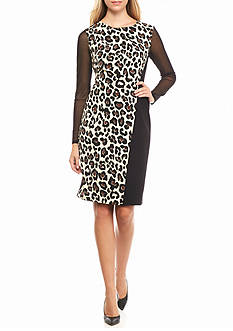 AK Anne Klein Animal Printed Panel Sheath Dress