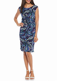 AK Anne Klein Printed Knot-Waist Sheath Dress