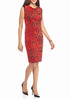 AK Anne Klein Snake Printed Shift Dress with Faux Leather Trim