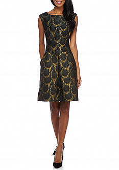 AK Anne Klein Metallic Jacquard Fit and Flare Dress