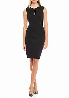 Anne Klein Bead Embellished Neckline Sheath Dress