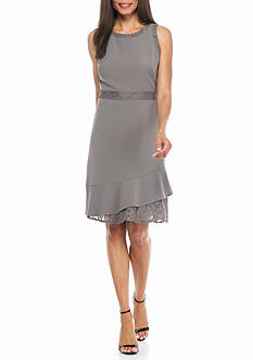 AK Anne Klein Lace Trim Fit and Flare Dress