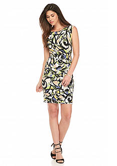 Anne Klein Printed Side Twist Pleat Dress