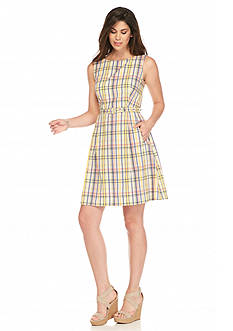 Anne Klein Seersucker Plaid Fit-and-Flare Dress
