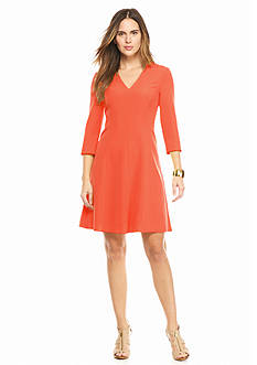Anne Klein Three-Quarter Sleeve Fit-and-Flare Dress