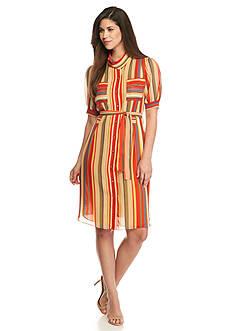 AK Anne Klein Striped Shirt Dress
