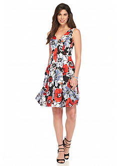 Anne Klein Floral Printed Fit-and-Flare dress