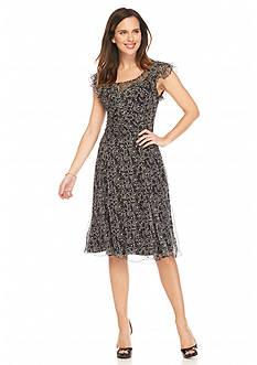Anne Klein Printed Chiffon Fit-and-Flare Dress