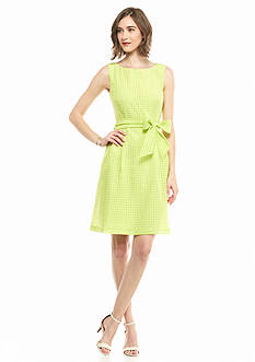 Anne Klein Check Fit-and-Flare Dress