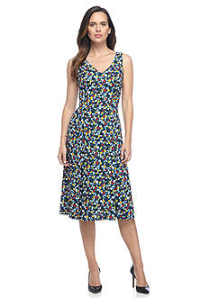AK Anne Klein Polka Dot Midi Double Pleated Dress