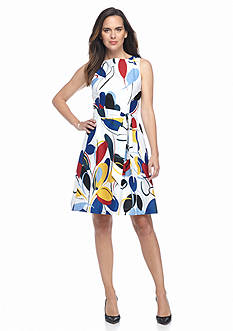 AK Anne Klein Printed Sateen Fit and Flare Dress