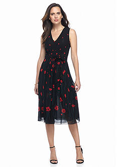 AK Anne Klein Printed Fit and Flare Dress