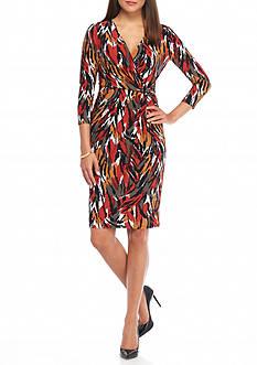 AK Anne Klein Printed Wrap Dress