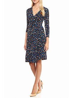 Anne Klein Printed Faux Wrap Jersey Dress