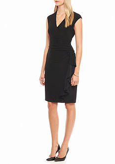 Anne Klein Ruffle Skirt Faux Wrap Dress