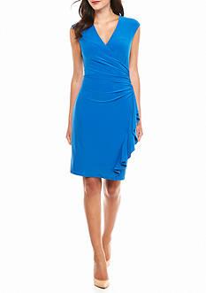 AK Anne Klein Ruffle Skirt Faux Wrap Dress