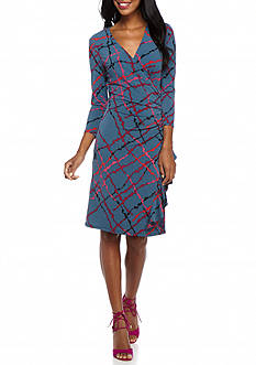 Anne Klein Printed Side Ruffle Skirt Jersey Dress