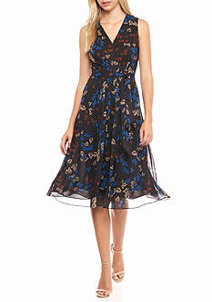 Anne Klein Printed Chiffon Belted Dress