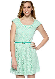 A Byer Cap-Sleeve Belted Lace Dress