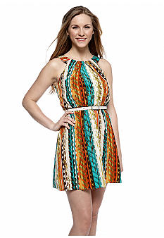 A Byer Belted Tribal Print Dress