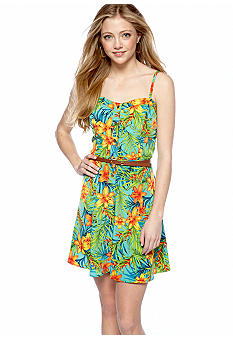 A Byer Tropical Floral Button Front Dress
