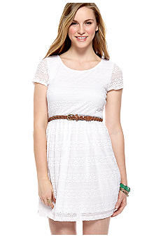 A Byer Short Sleeve Stretch Lace Belted Dress
