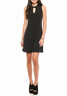 Byer California High Neck Shift Dress with Keyhole