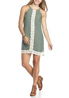 A. Byer Gauze Crochet Hem Dress