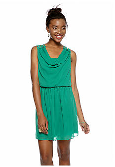 A Byer Cowl Neck Stud Shoulder Dress