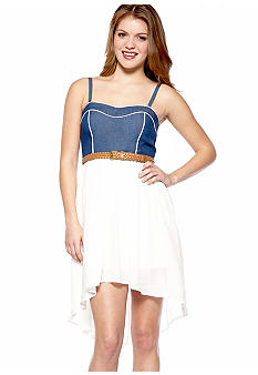 A Byer Jean Top Hi Lo Gauze Dress