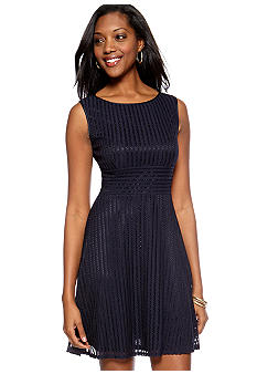 Gabby Skye Petite Lace Fit and Flare Dress