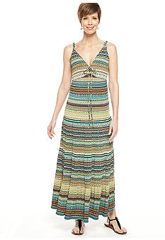 Gabby Skye Sleeveless Stripe Maxi Dress