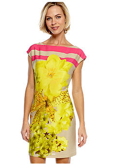 Gabby Skye Cap-Sleeved Printed Sheath Dress