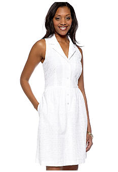 Gabby Skye Petite Sleeveless Eyelet Notch Collar Shirt Dress