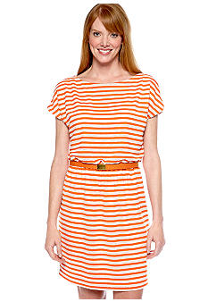 Gabby Skye Plus Size Dolman Cold Shoulder Stripe Dress