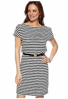 Gabby Skye Petite Cold Shoulder Stripe Blouson Dress