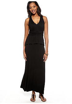 Gabby Skye Halter Peplum Maxi Dress