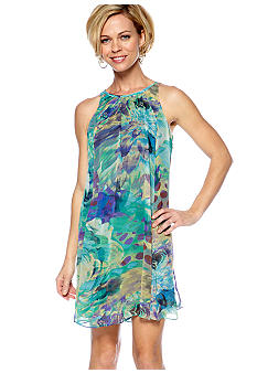 Gabby Skye Sleeveless Printed Trapeze Dress