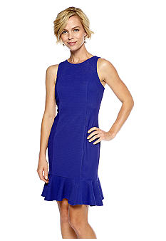 Gabby Skye Sleeveless Dress with Flounce Hem