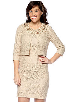 Danny & Nicole Petite Lace Jacket Dress