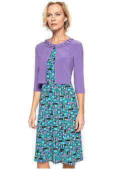 Danny & Nicole Petite Printed Jacket Dress