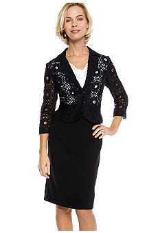 Danny & Nicole Petite Crochet Lace Jacket Dress