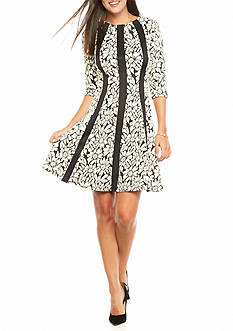 Gabby Skye Printed Textured Knit Fit and Flare Dress