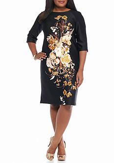 Gabby Skye Plus Size Floral Printed Scuba Sheath Dress