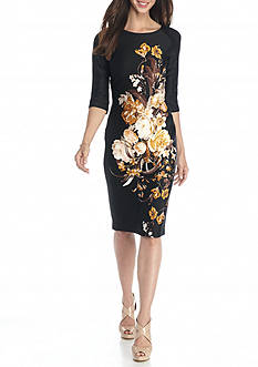 Gabby Skye Floral Printed Scuba Sheath Dress